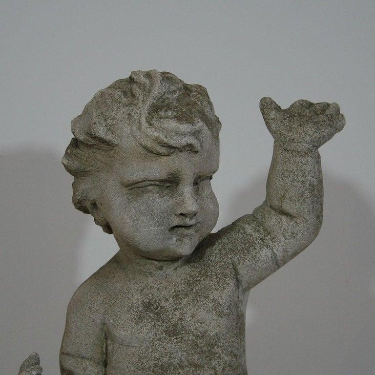 Large Italian 18th Century Carved Stone Angel Cherub For Sale 2