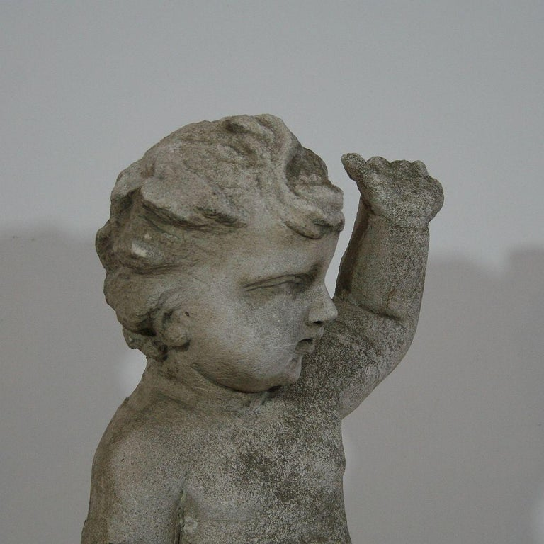 Large Italian 18th Century Carved Stone Angel Cherub For Sale 3