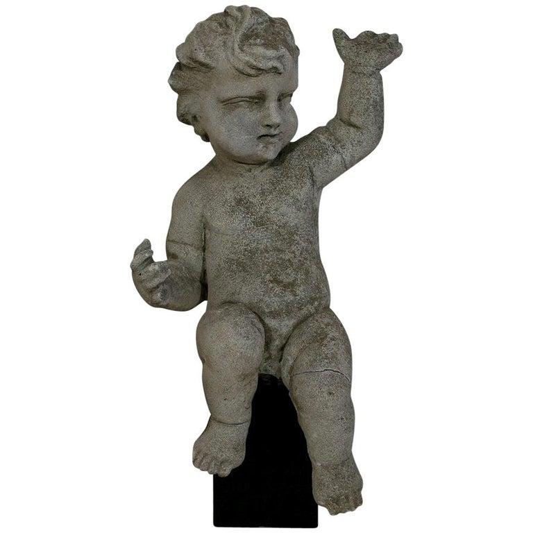 Large Italian 18th Century Carved Stone Angel Cherub For Sale