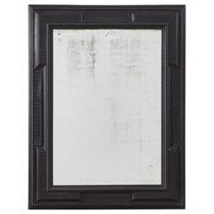 Large Italian 19 Th Century Ebonised Ripple-Frame Mirror