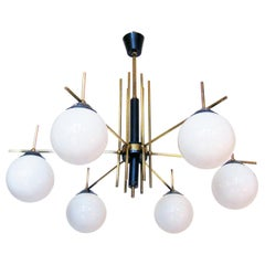 Large Italian 1950s Globe Chandelier in Brass and Glass by Stilnovo