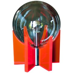 Large Italian 1960 Lucite, Glass and Chrome Light