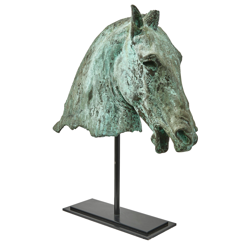 Large Italian 19th Century Bronze Grand Tour Sculpture of a Horses Head