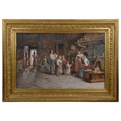 Large Italian 19th Century Water Color of a Family Scene, Signed P. De Tommaly