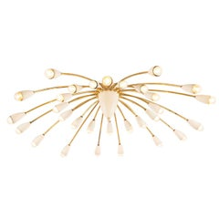 Large Italian 30 Armed Chandelier Brass and White Coated Finish