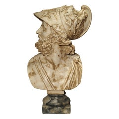 Large Italian Alabaster Bust of Menelaus, King of Sparta
