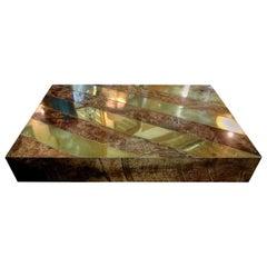 Large Italian Aldo Tura Lacquered Goatskin and Brass Coffee Table