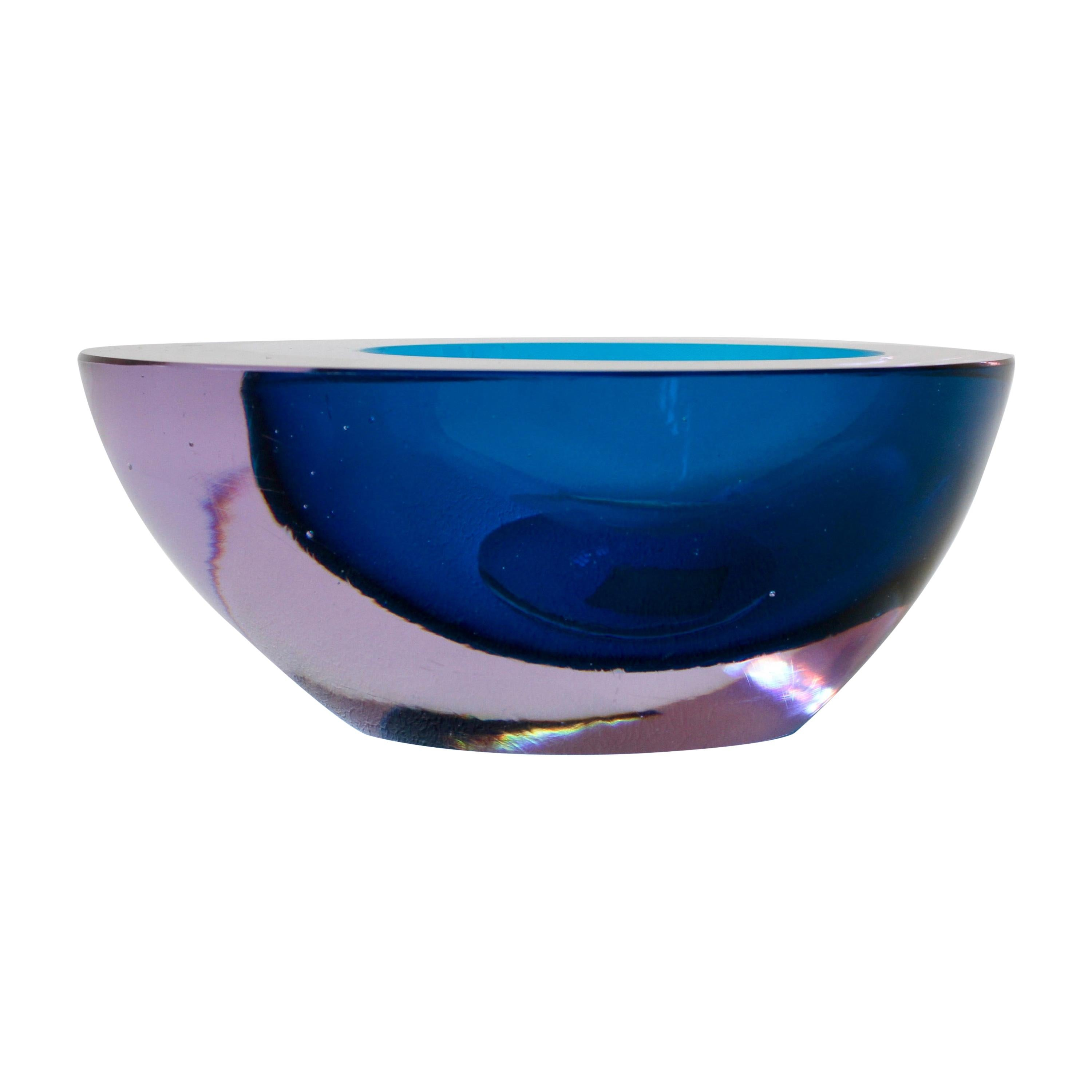 Large Italian Alexandrite and Blue Sommerso Murano Glass Bowl, Dish or Ashtray