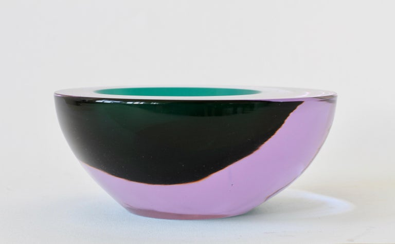 Large Italian Alexandrite and Green Sommerso Murano Glass Bowl, Dish or Ashtray For Sale 10