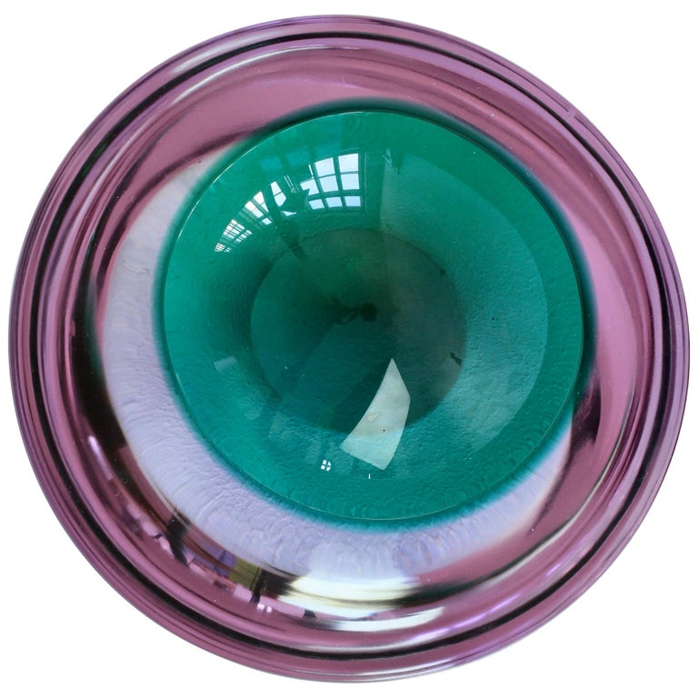 Large Italian Alexandrite and Green Sommerso Murano Glass Bowl, Dish or Ashtray For Sale