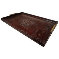 Large Italian Alligator Tray with Bronze Handles