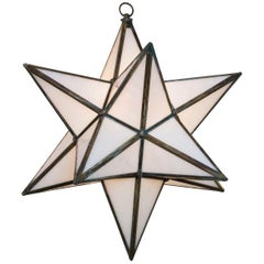 Large Italian Antiqued Brass Star Lantern/ Pair Available