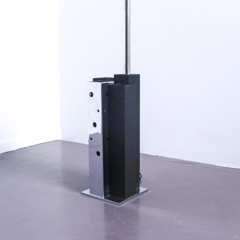 Late 20th Century Mid Century Modern Italian Chrome Arc Lamp with Black Base, 1970 For Sale