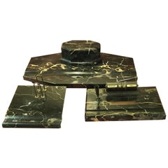 Large Italian Art Deco Portoro Marble 3-Piece Desk Set
