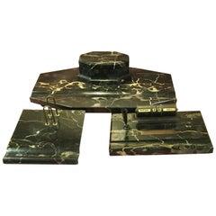 Large Italian Art Deco Portoro Marble 3-Piece Desk Set