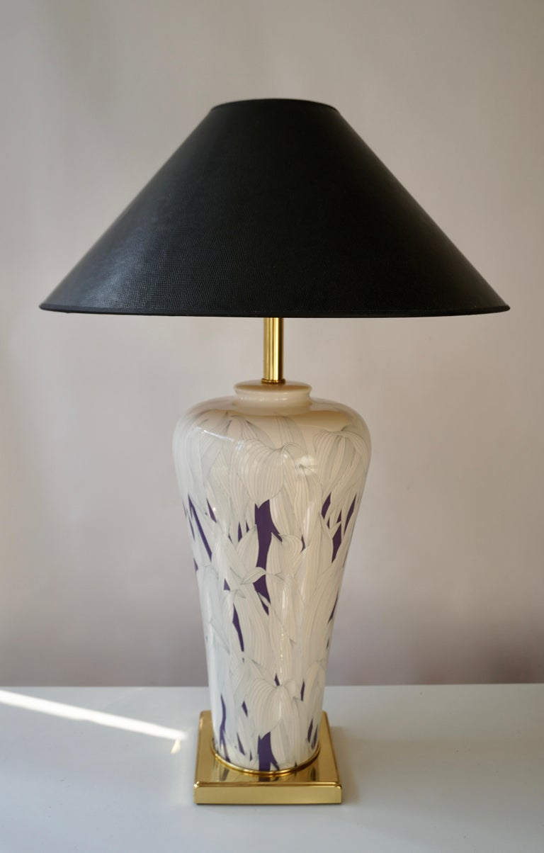 Large Italian Hollywood Regency Style Brass and Ceramic Table Lamp, 1970s In Good Condition For Sale In Antwerp, BE