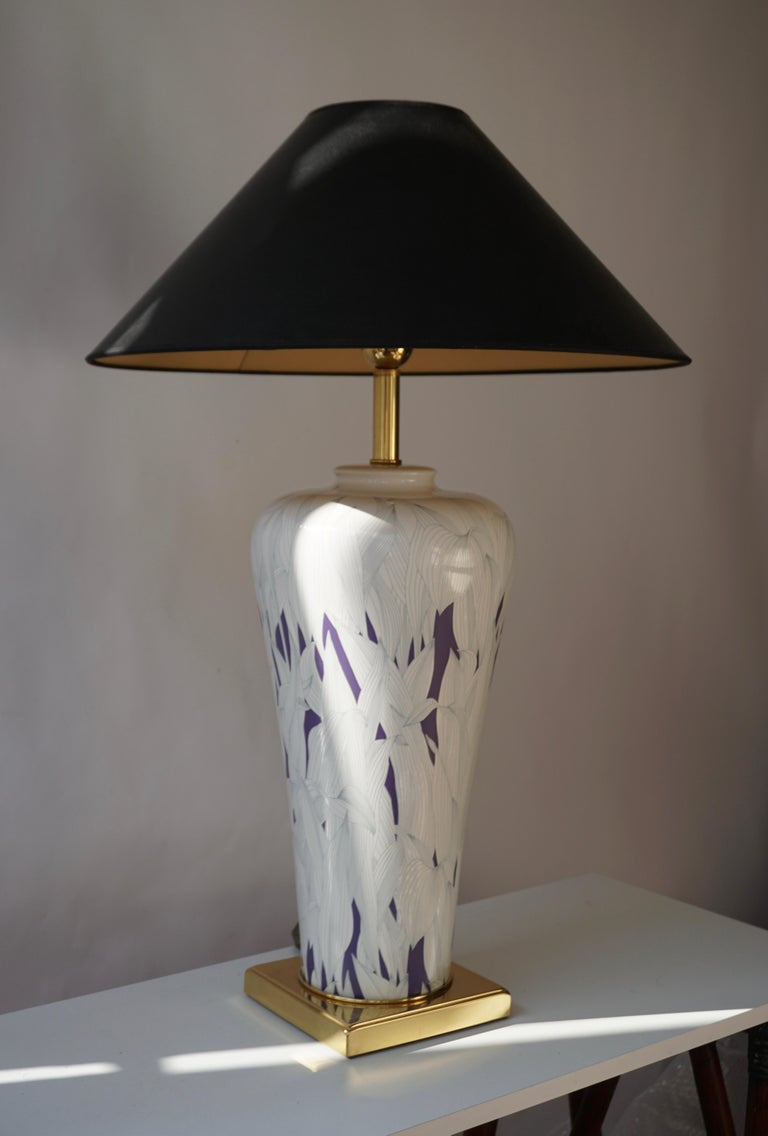Large Italian Hollywood Regency Style Brass and Ceramic Table Lamp, 1970s For Sale 1