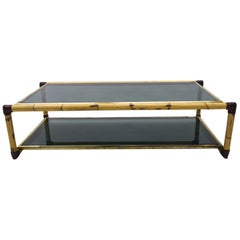 Large Italian Bamboo / Leather and Smoked Glass Coffee Table, 1960s
