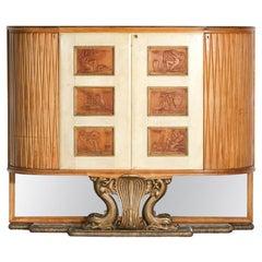 Large Italian Bar Furniture by Osvaldo Borsani in Wood and Parchment 1940, E379