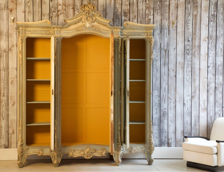 Wood 19th Century Italian Baroque Armoire For Sale