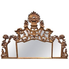 Large Italian Baroque Giltwood Mirror