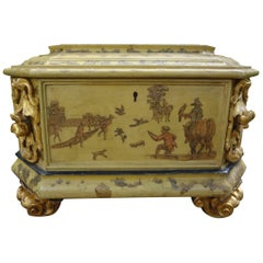 Large Italian Baroque Style Hand Decorated Giltwood Box