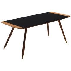 Large Italian Black Glass Top Coffee Table Paolo Buffa Style, 1960s
