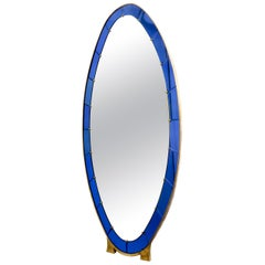 Large Italian Blue Crystal Art Standing Mirror