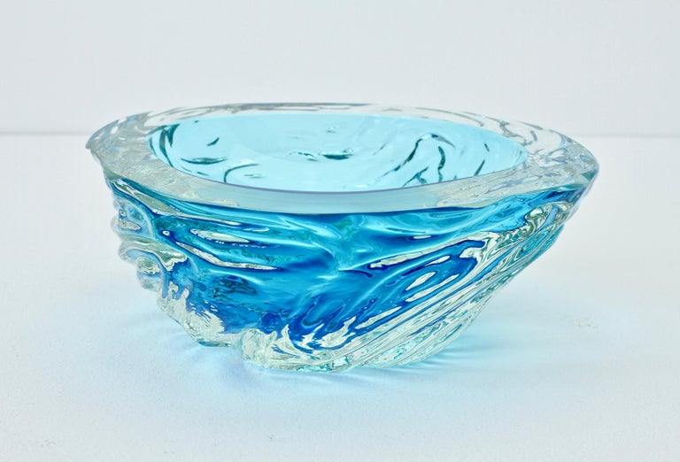 Large Italian Blue 'Sommerso' Murano Glass Bowl Maurizio Albarelli Attributed For Sale 5