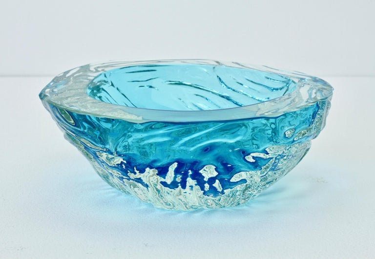 Large Italian Blue 'Sommerso' Murano Glass Bowl Maurizio Albarelli Attributed For Sale 8