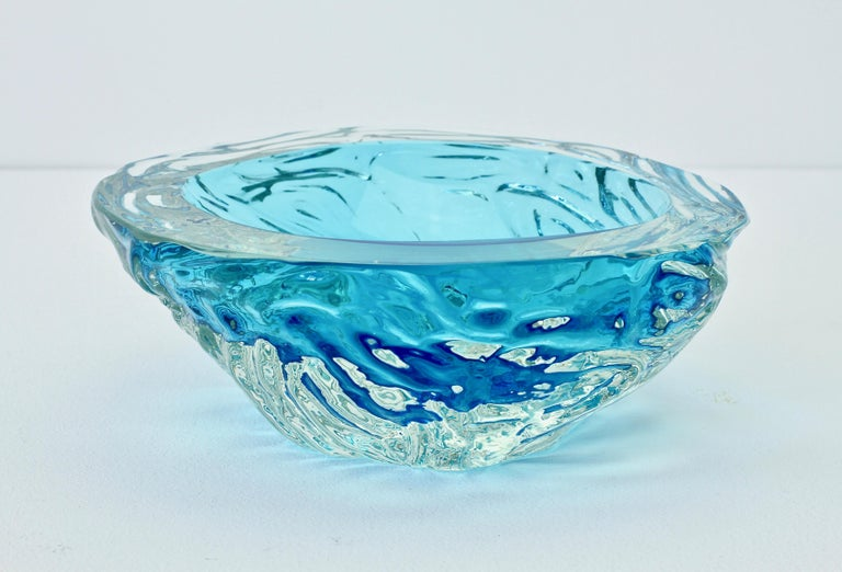 Large Italian Blue 'Sommerso' Murano Glass Bowl Maurizio Albarelli Attributed For Sale 9