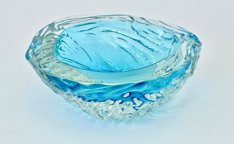 Large Italian Blue 'Sommerso' Murano Glass Bowl Maurizio Albarelli Attributed For Sale 11