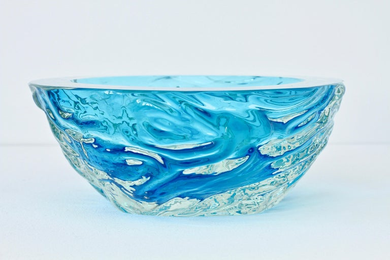 Large Italian Blue 'Sommerso' Murano Glass Bowl Maurizio Albarelli Attributed For Sale 1