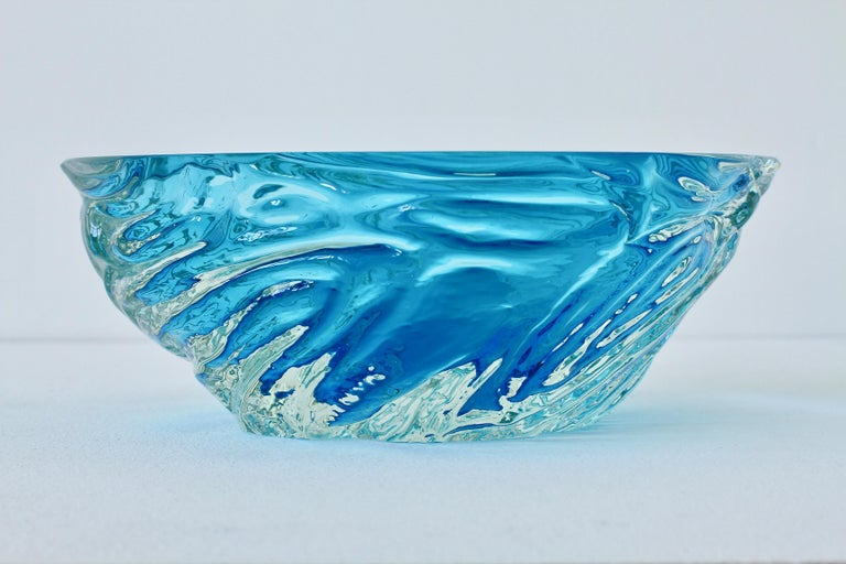 Large Italian Blue 'Sommerso' Murano Glass Bowl Maurizio Albarelli Attributed For Sale 3