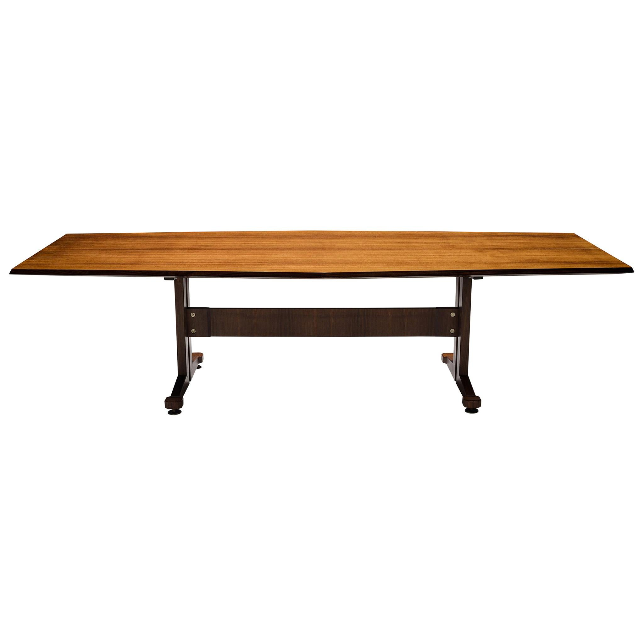 Large Italian Boat-Shaped Table in Teak