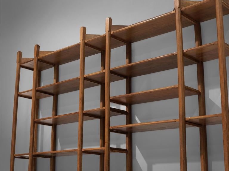 Mid-Century Modern Large Italian Bookcase with Cabinets and Carved Details in Walnut For Sale