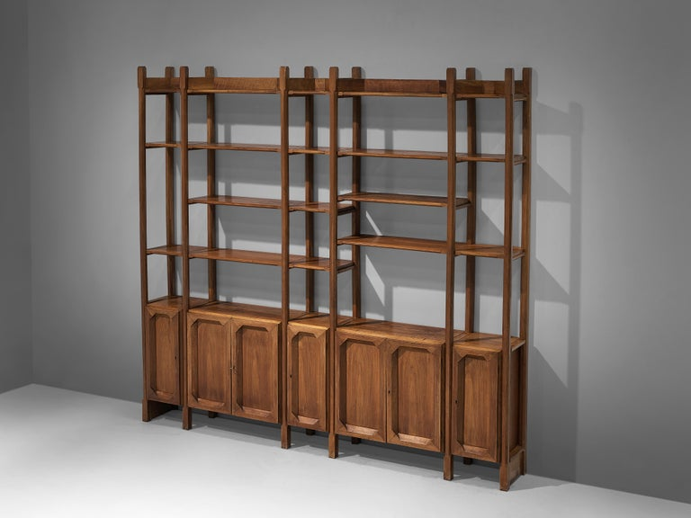 Brass Large Italian Bookcase with Cabinets and Carved Details in Walnut For Sale