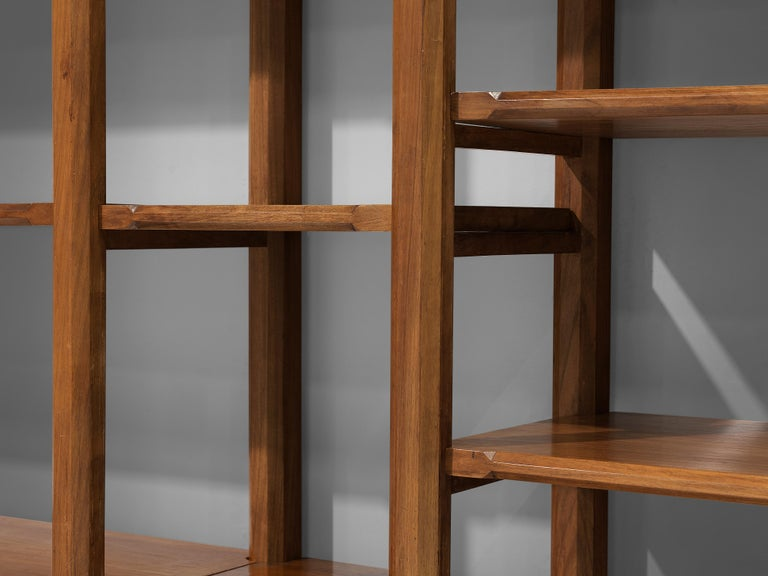 Large Italian Bookcase with Cabinets and Carved Details in Walnut For Sale 1