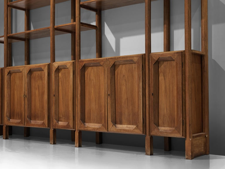Large Italian Bookcase with Cabinets and Carved Details in Walnut For Sale 2