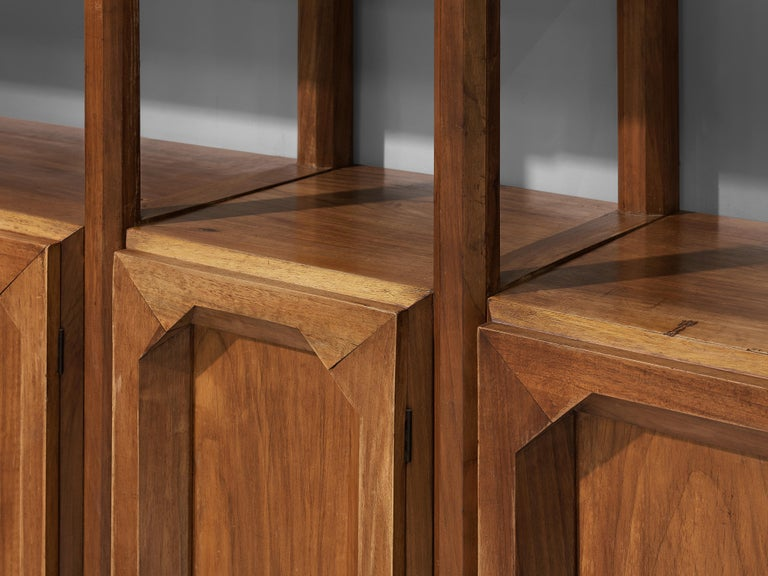Large Italian Bookcase with Cabinets and Carved Details in Walnut For Sale 3