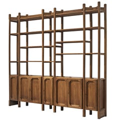 Large Italian Bookcase with Cabinets and Carved Details in Walnut