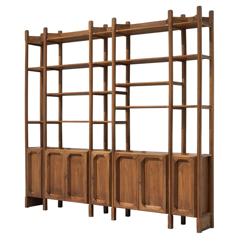 Large Italian Bookcase with Cabinets and Carved Details in Walnut For Sale