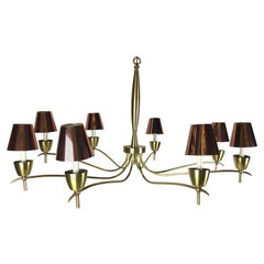 Large Italian Brass Chandelier in the Style of Guglielmo Ulrich