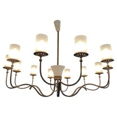 Large Italian Brass Chandelier, Twelve-Arm, Frosted Glass Shades, 1950s