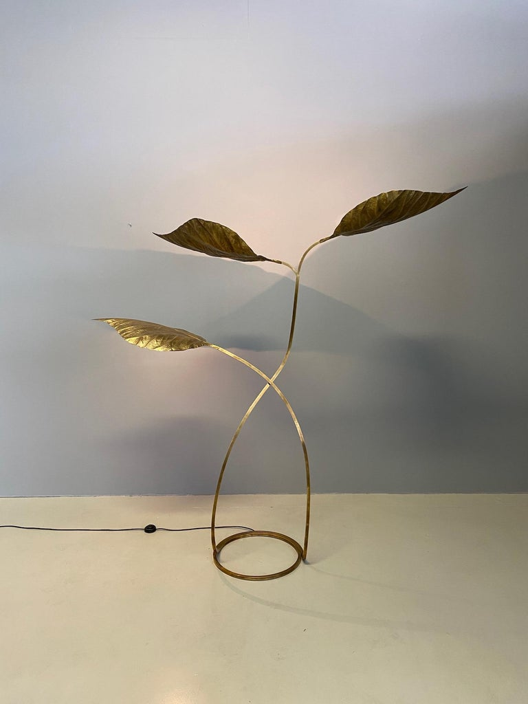 Large Italian Brass Floor Lamp by Tommaso Barbi For Sale 2