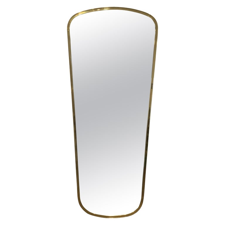 Large Italian Brass Mirror, 1950s For Sale