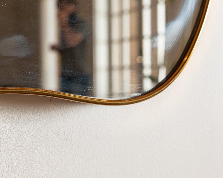 Mid-Century Modern Large Italian Brass Mirror with Lovely Patina, 1950s