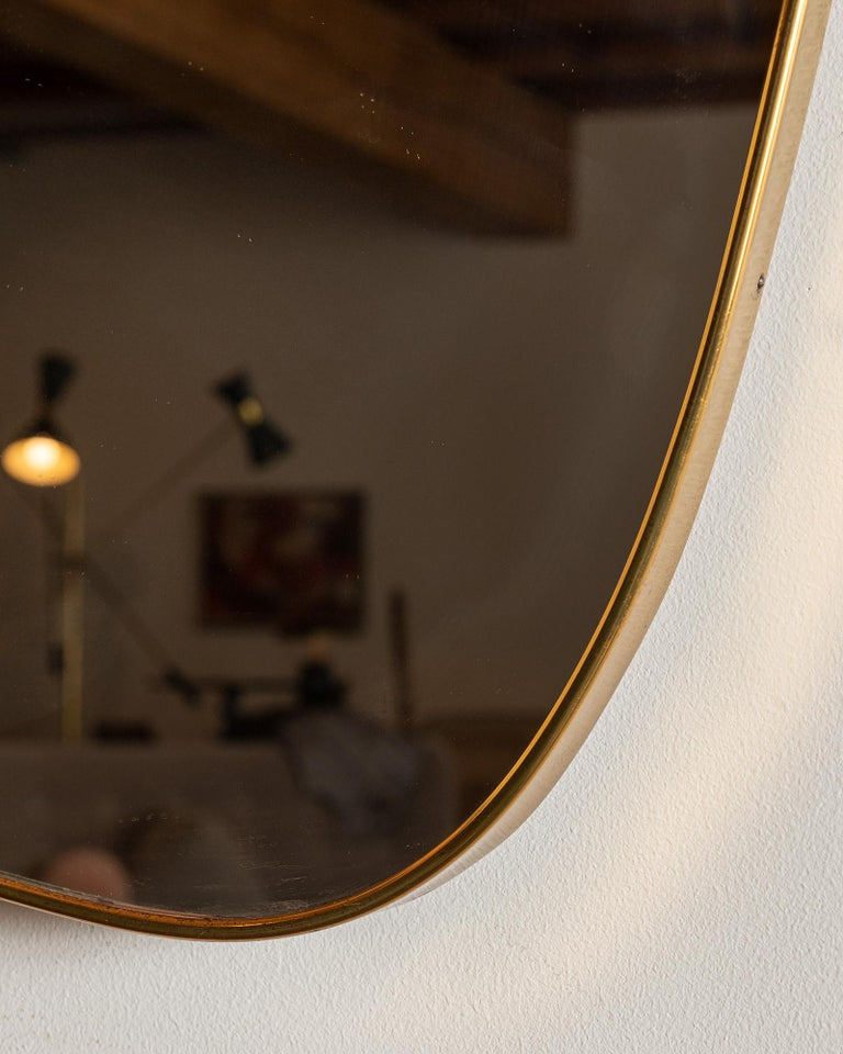 Large Italian Brass Mirror with Lovely Patina, 1950s In Good Condition In Santa Fe, NM