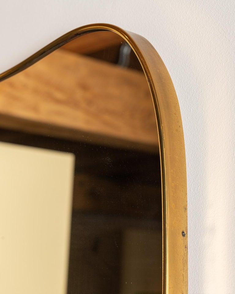 Large Italian Brass Mirror with Lovely Patina, 1950s 1