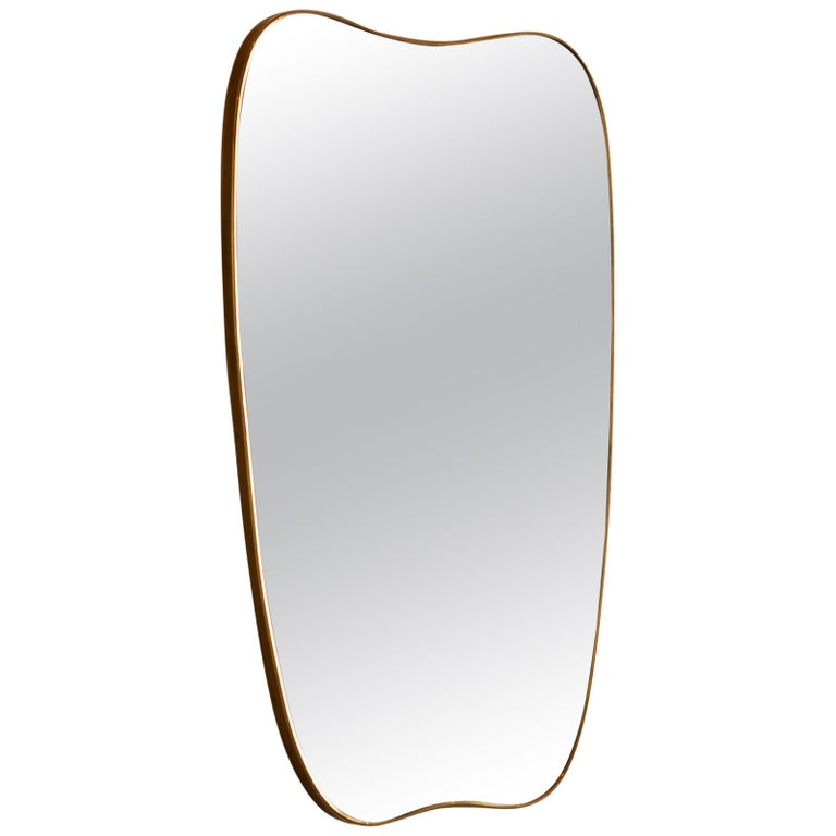 Large Italian Brass Mirror with Lovely Patina, 1950s